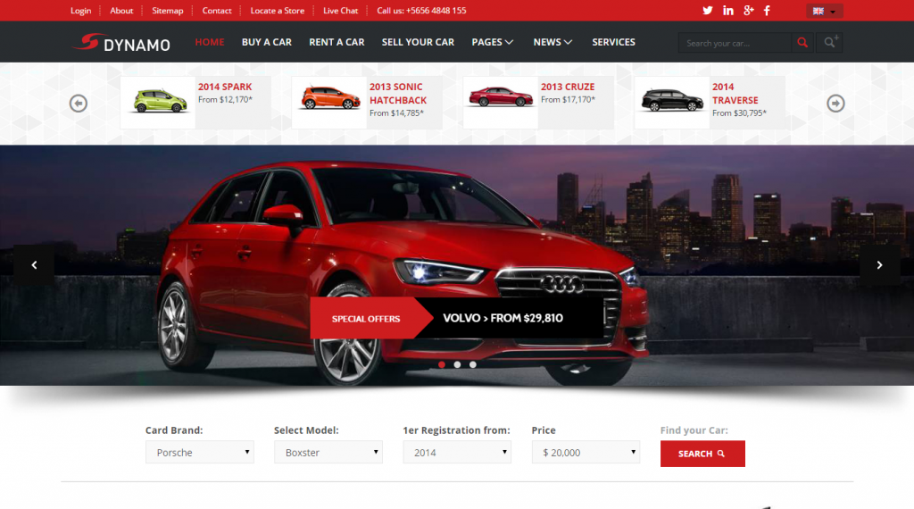 Dynamo Rent-Sell-Buy Car Dealer HTML Responsive
