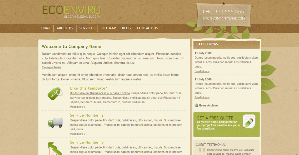 Eco Enviro Full HTML Site 6 pages PSD included