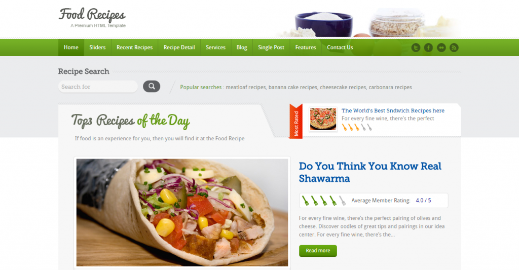 Food Recipes Food Website and Blog Template