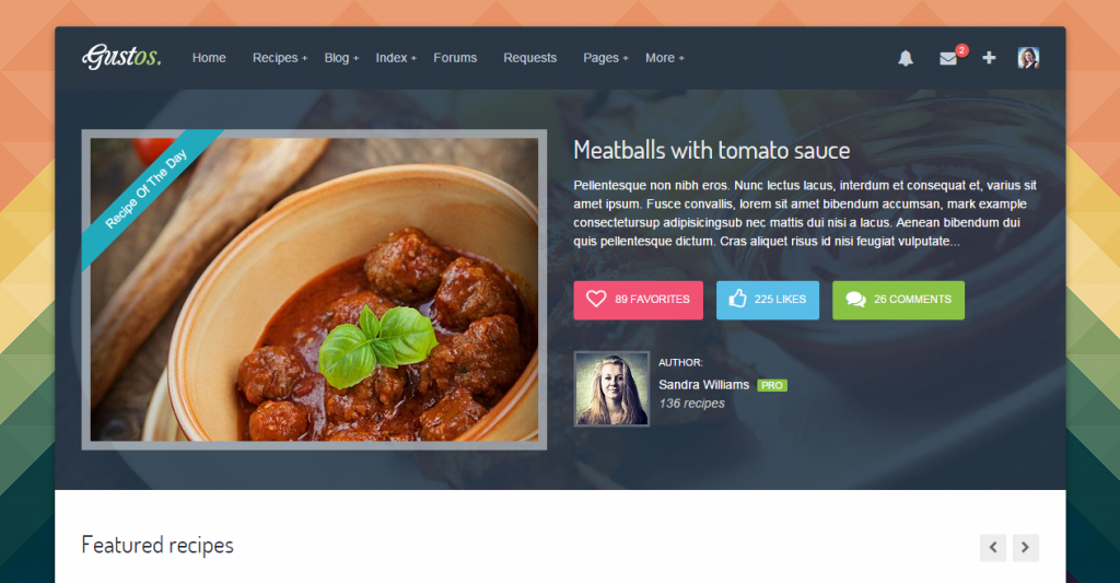 25 best recipe and food html templates weelii gustos the complete ui forumfinder Choice Image