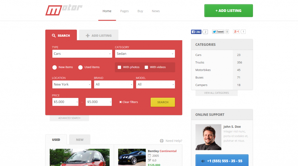 Motor Vehicle Marketplace Responsive Template
