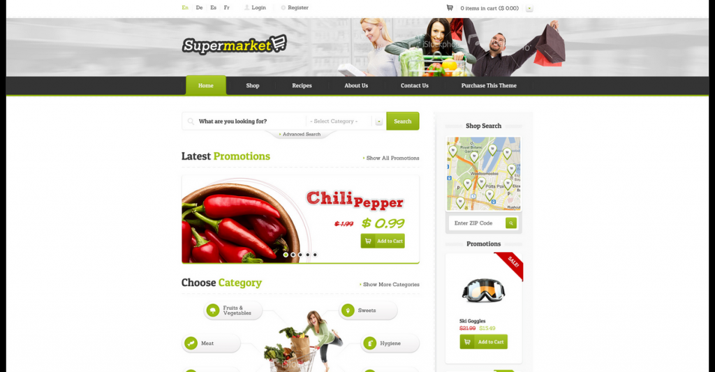 SUPERMARKET eShop HTML Template (incl. Recipes)