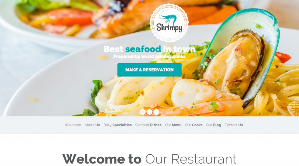 Shrimpy Responsive Onepage Restaurant Template