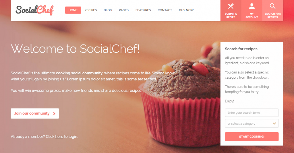 25 best recipe and food html templates weelii socialchef social recipe html template forumfinder Choice Image
