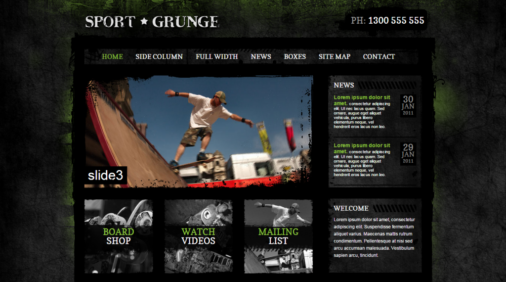 Sport and Grunge HTML PSD