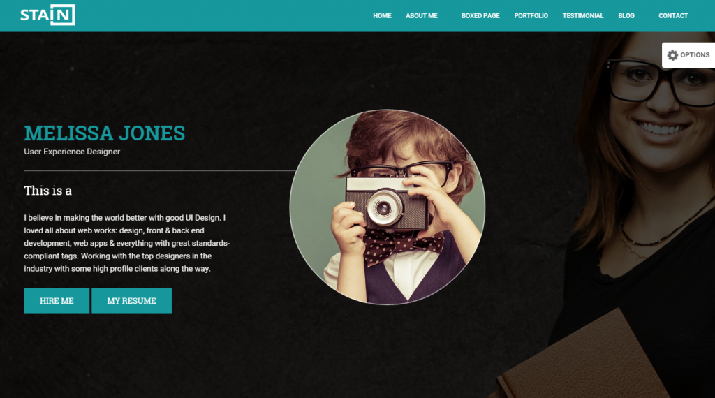 Stain Creative One Page Portfolio Blog Template