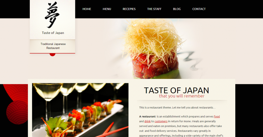 Taste of Japan classy website of restaurant