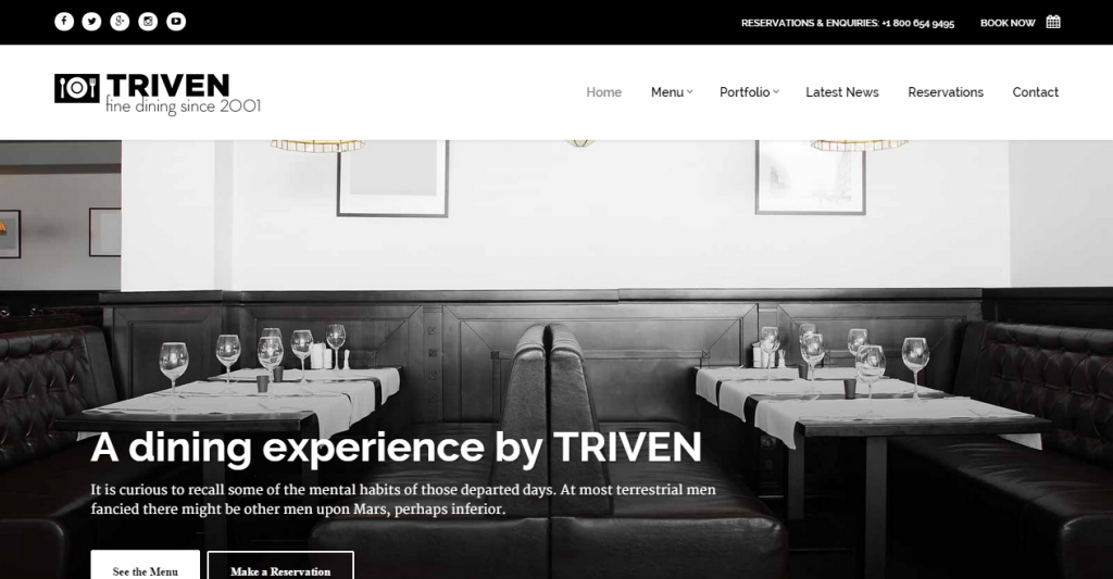Triven Restaurant & Winery Site Template