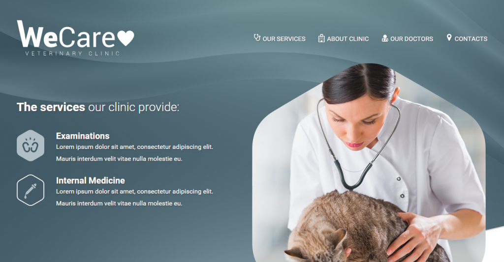 Wecare Veterinary Clinic Parallax Landing Page