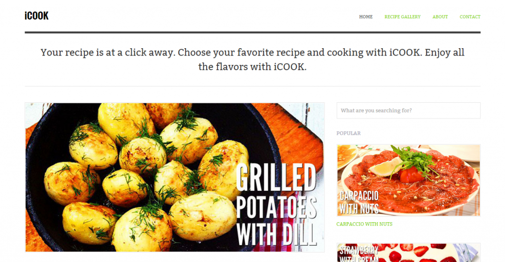 iCook Food Blog HTML Theme