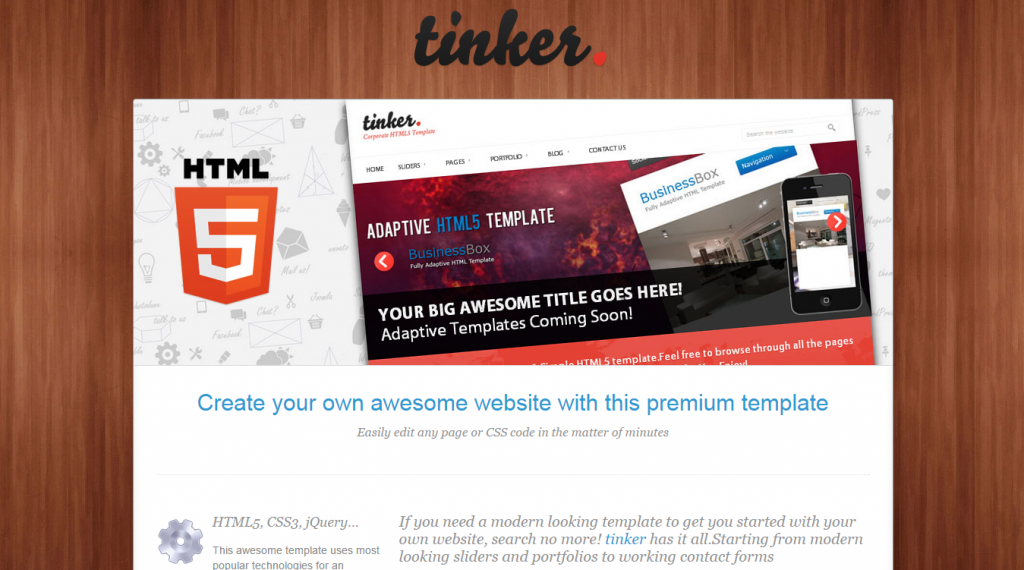 tinker Simple Corporate HTML5 Template