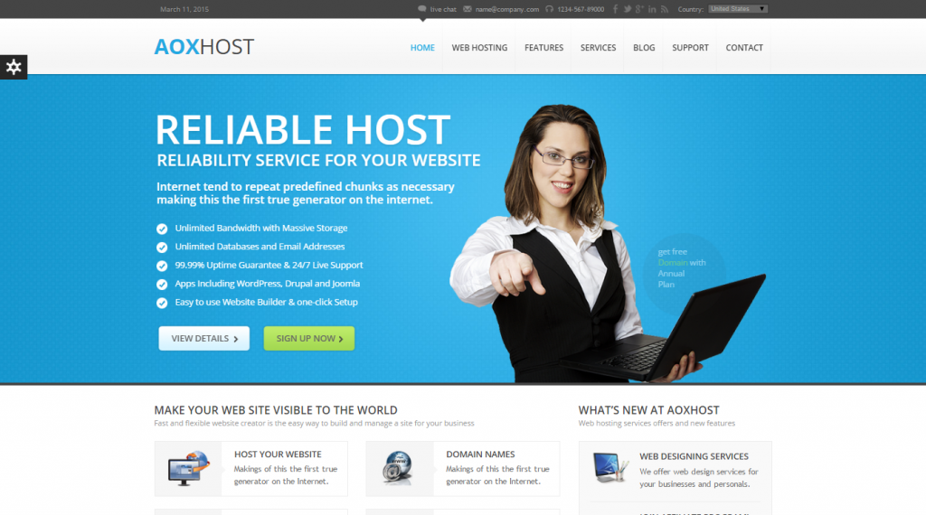 AOX HOST Responsive Hosting Theme