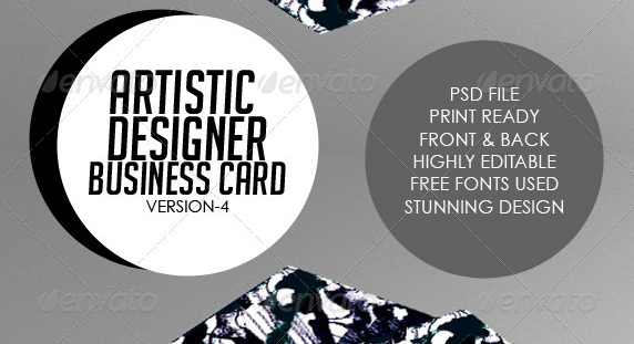 Artistic Business Card#4 PSD Template