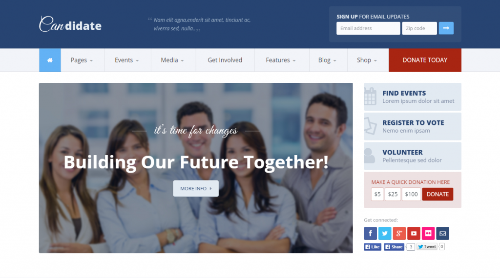 Candidate Political Nonprofit WordPress Theme