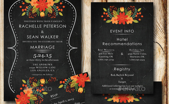 Chalkboard Floral Wedding Invitation