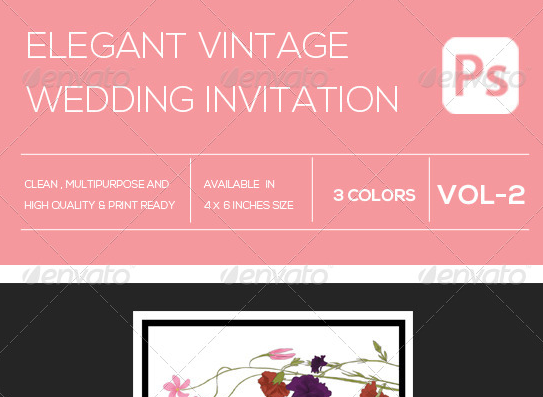 Elegant Vintage Wedding Invitation Template