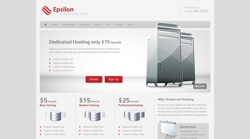 Epsilon Hosting and Business Template