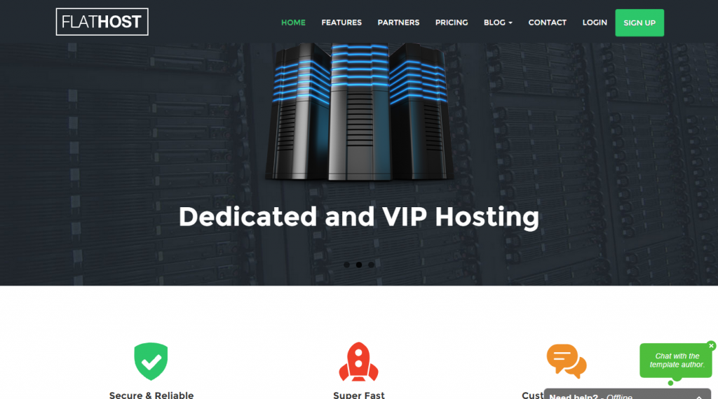 FlatHost Responsive Hosting Template with WHMCS