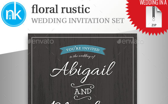 Floral Rustic Wedding Invitation Set