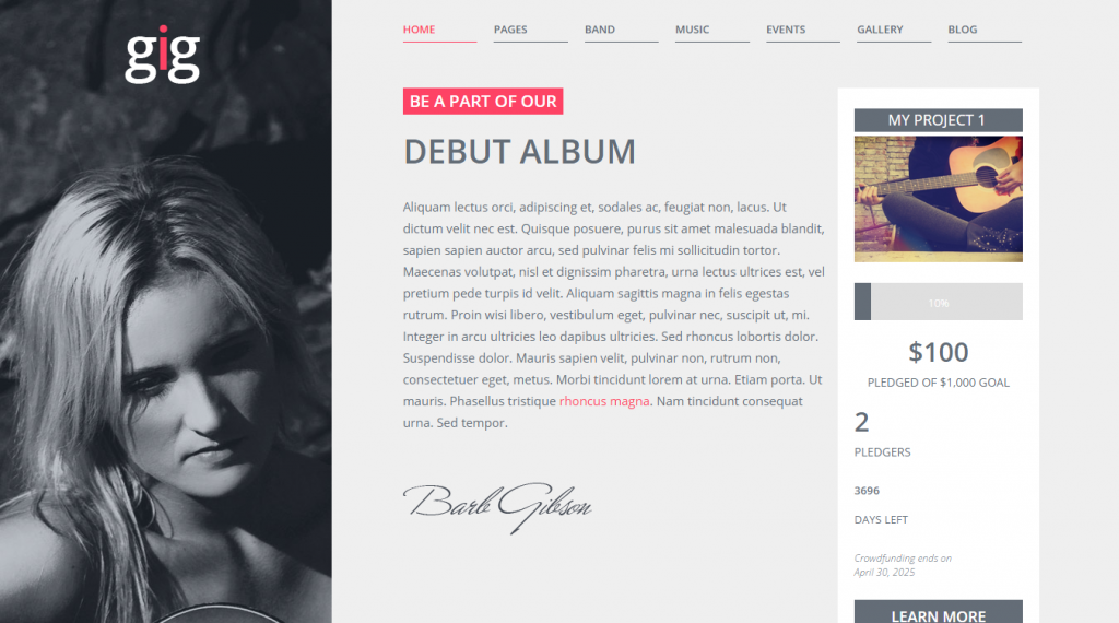 GIG Premium WordPress Crowdfunding Theme