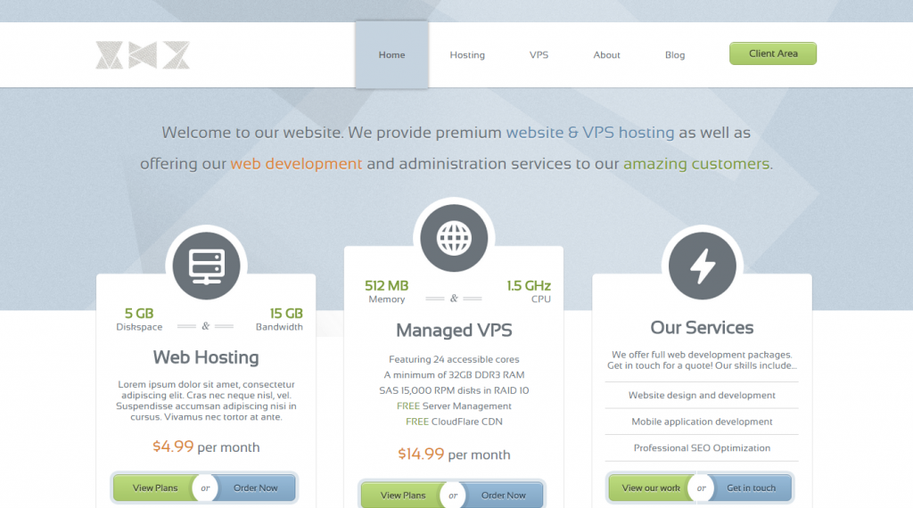 GlassHost Premium Web Hosting Template