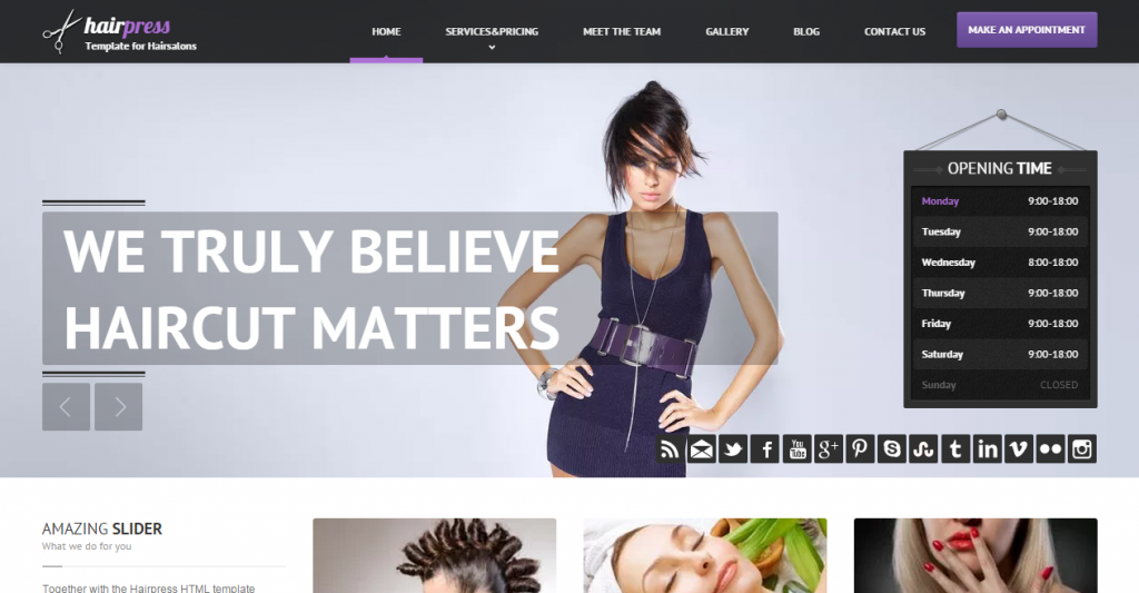 Hairpress HTML Template for Hair Salons