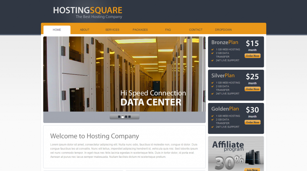 HostingSquare Web Hosting HTML Template