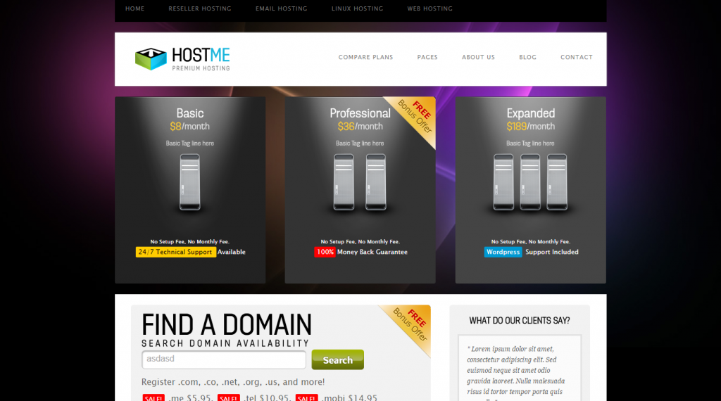 Hostme Premium Hosting & Business Template