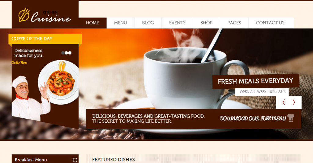 Kitchen Cuisine Restaurants & Café HTML Template