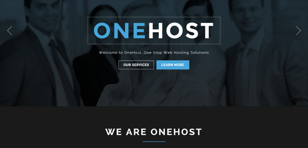 Onehost One Page Responsive Hosting Template