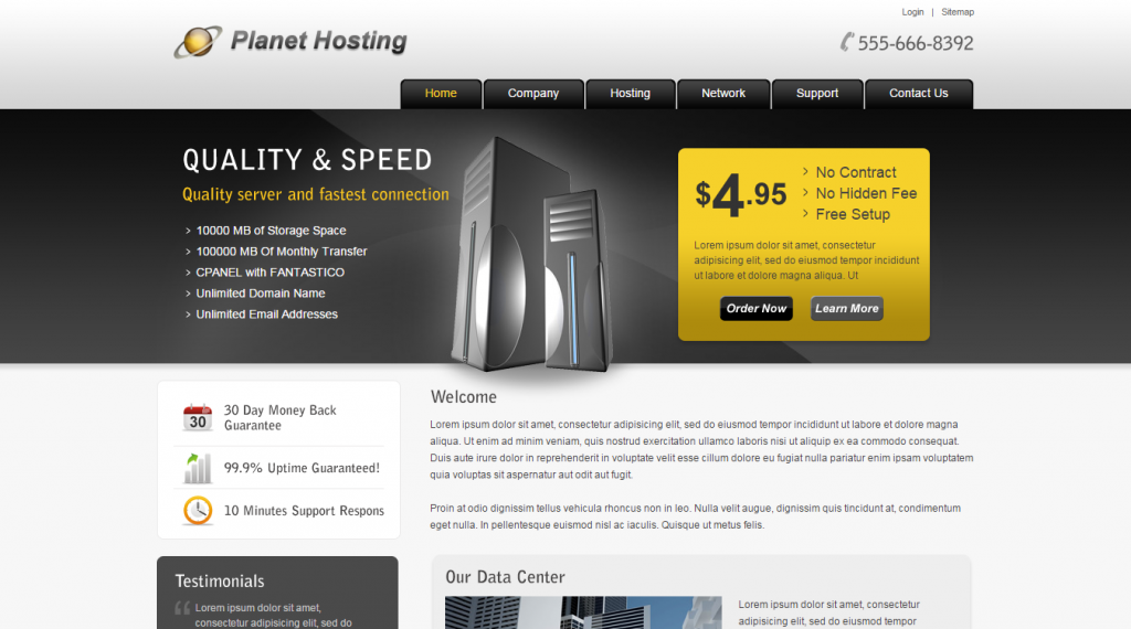 Planet Hosting Web Hosting HTML Template