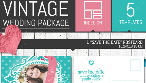 Pois Vintage Wedding Invitation Pack Template