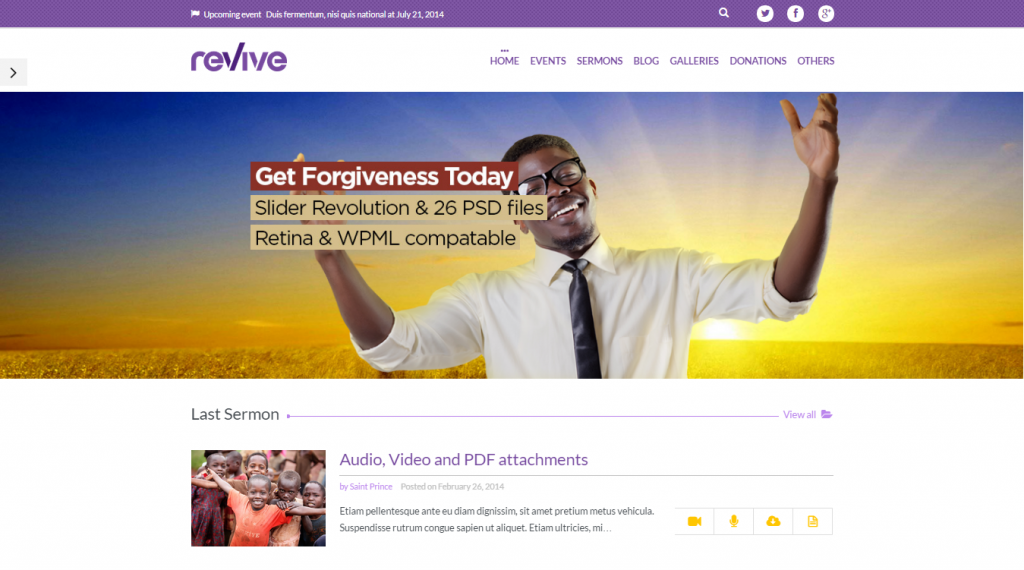 Revive Events & Donations WordPress Theme