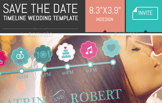 Save the Date Timeline Wedding Invite Template