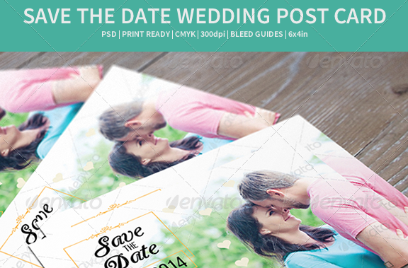 Save the Date Wedding Post Card Template