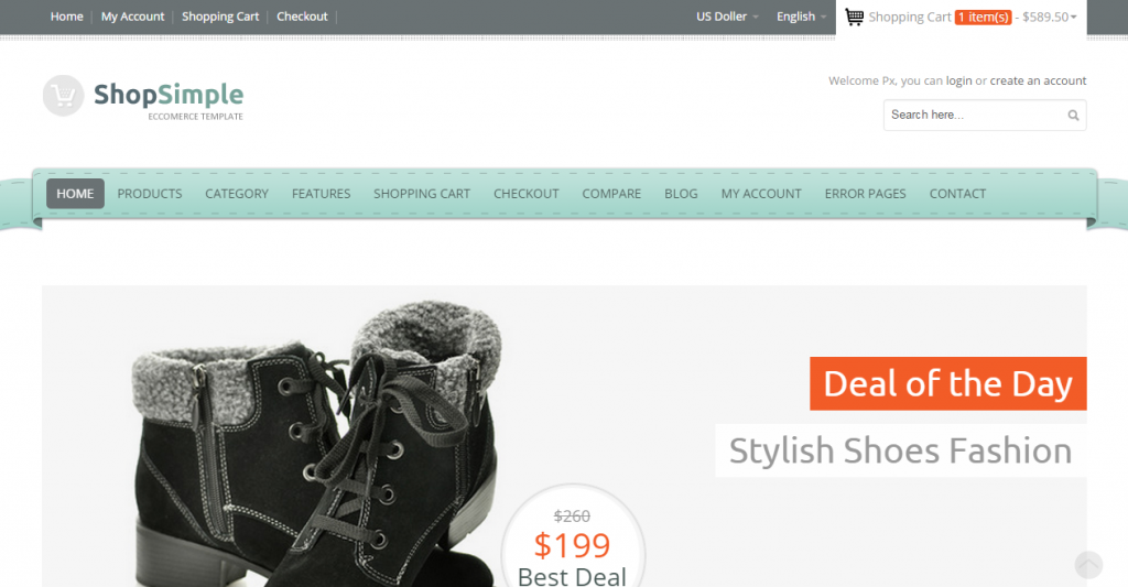 ShopSimple Responsive Ecommerce Template