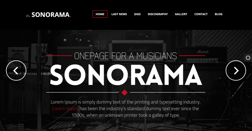 Sonorama Onepage Music Template