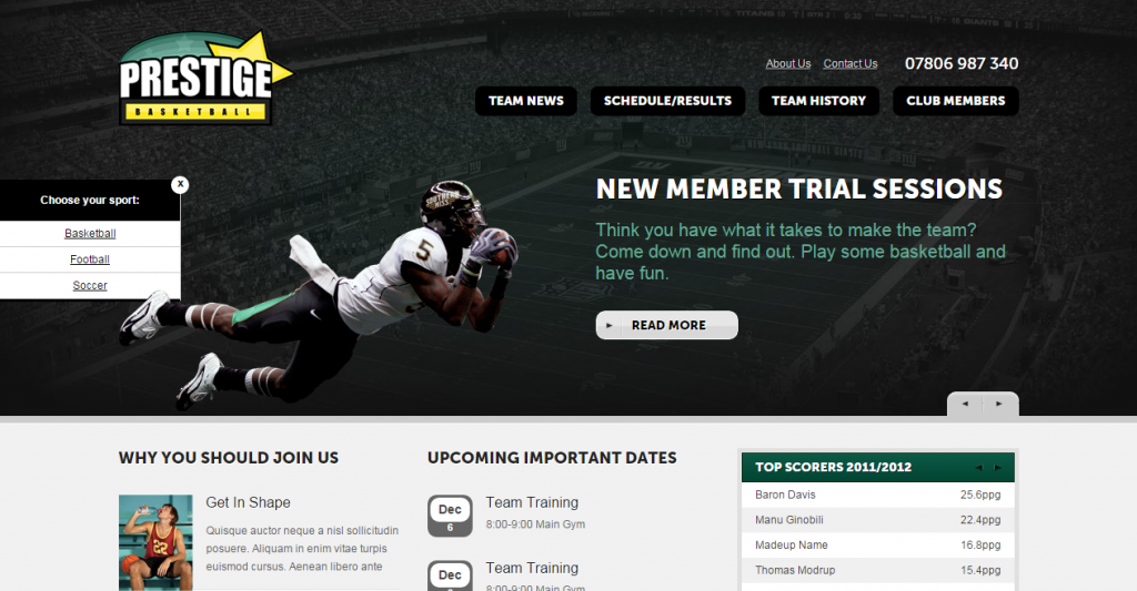 Sporting IQ HTML Sports Template