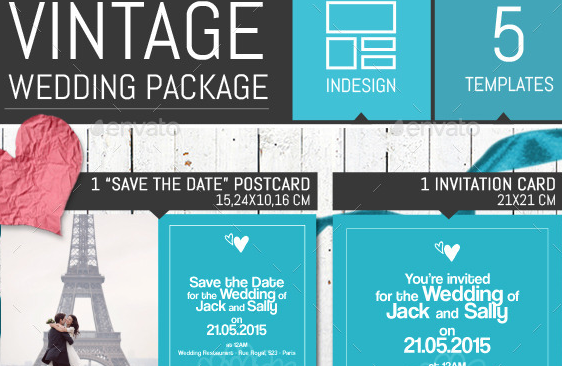Vintage Wedding Invitation Pack Template