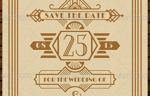 Wedding Save the Date Post Card Art Deco 02