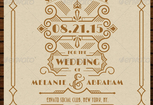 Wedding Save the Date Post Card Art Deco 03