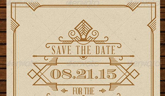 Wedding Save the Date Post Card Art Deco 04