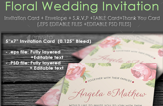 Whimsical Floral Wedding Invitation Package