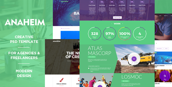 Anaheim Creative PSD template for agencies