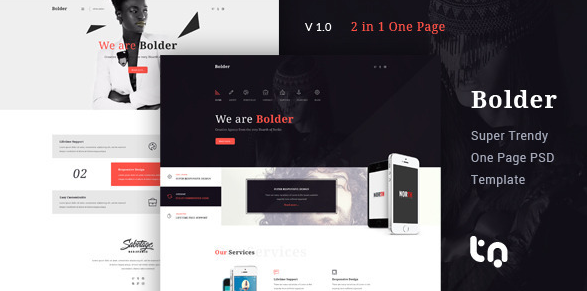 Bolder Trendy One Page PSD Template