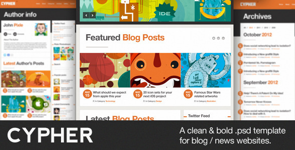 Cypher A Bold Blog News PSD Theme