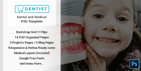 Dentist Dental & Medical One Page PSD Template