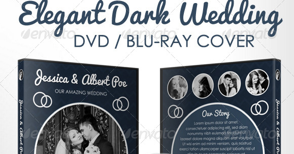 Elegant Dark Wedding DVD Blu-ray Cover Template