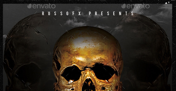 Gold Skull PSD CD Mixtape Cover Template
