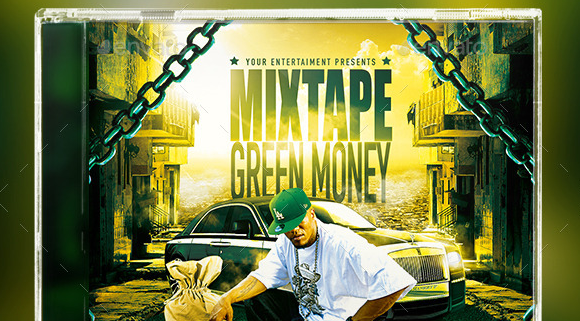 Green Money Mixtape Hip Hop Cd Template